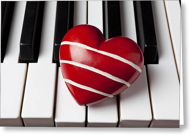 Piano Keys Greeting Cards - Red heart with stripes Greeting Card by Garry Gay