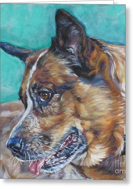 Heeler Greeting Cards - Red Heeler Australian Cattle Dog Greeting Card by Lee Ann Shepard