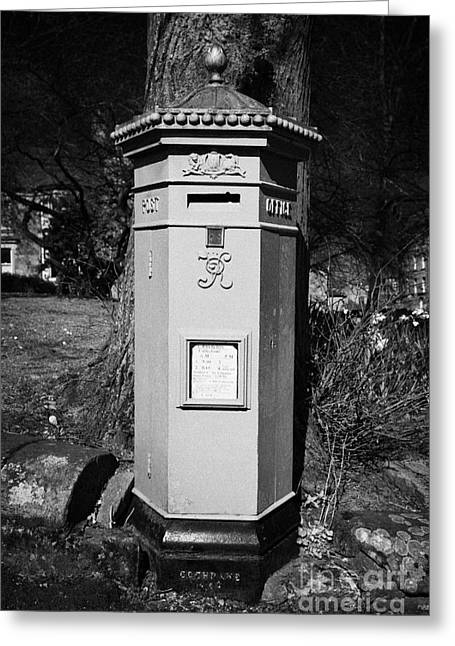 Pillar Box Greeting Cards - red hexagonal penfold victorian postbox the square Buxton Derbyshire England UK Greeting Card by Joe Fox