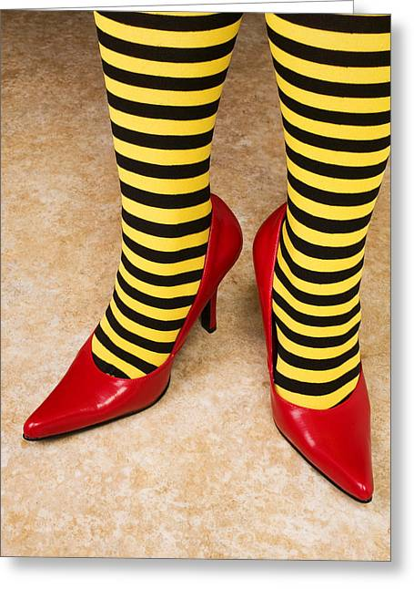 Red Socks Greeting Cards - Red high heels andstockings Greeting Card by Garry Gay