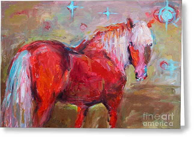Impressionistic Poster Greeting Cards - Red horse contemporary painting Greeting Card by Svetlana Novikova