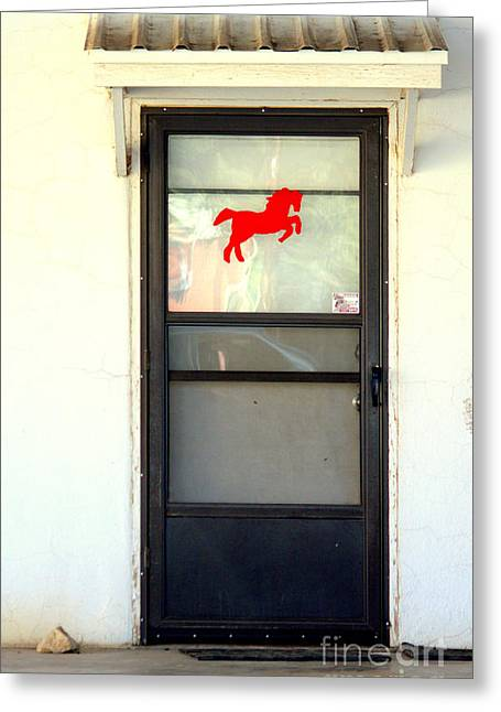 Screen Doors Greeting Cards - Red Horse Door Greeting Card by Joe Jake Pratt