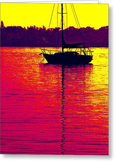 Yellow Sailboats Greeting Cards - Red Hot Lazy Day Greeting Card by Peggy Starks