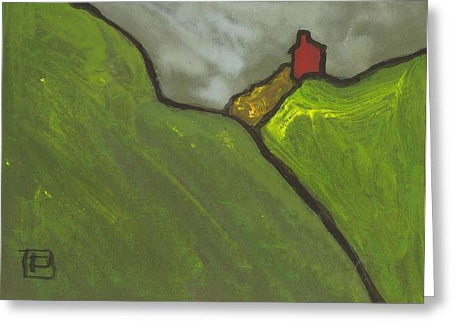 Postal Mixed Media Greeting Cards - Red house on a hill Greeting Card by Peter  McPartlin