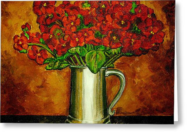 Pewter Mugs Greeting Cards - Red Hydrangeas Greeting Card by Vickie Warner