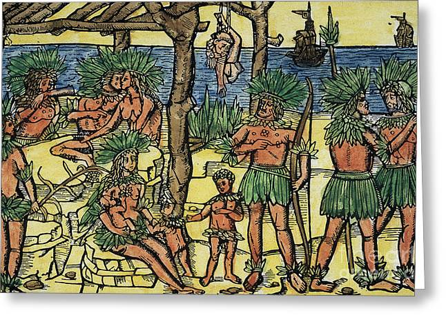 Indigenous Americans Greeting Cards - Red Indians As Cannibals, 1494 Greeting Card by Photo Researchers