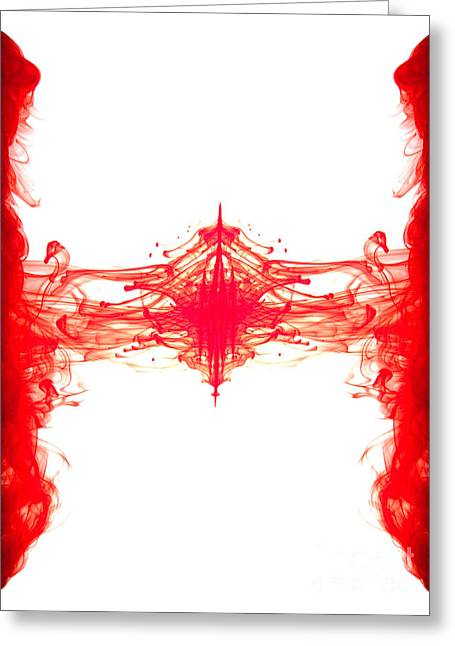 Duplicate Greeting Cards - Red ink abstract Greeting Card by Richard Thomas