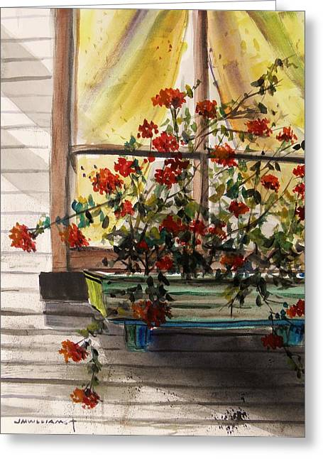 Flower Boxes Drawings Greeting Cards - Red Ivy Geranium Greeting Card by John  Williams