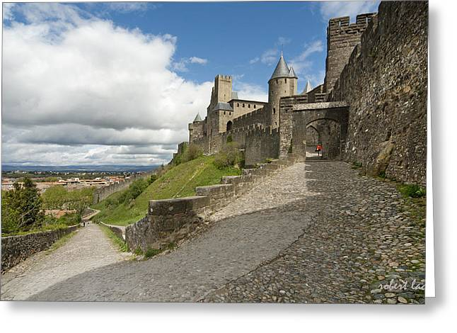 Languedoc Greeting Cards - Red Jacket in Carcassonne Greeting Card by Robert Lacy