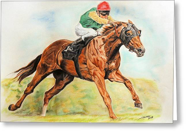 Race Horse Greeting Cards - Red  Greeting Card by Jana Goode