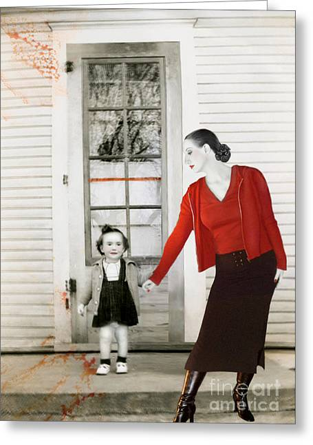Jaedadewalt Greeting Cards - Red Jane - Self Portrait Greeting Card by Jaeda DeWalt