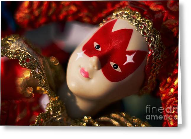 Jester Greeting Cards - Red Jester Greeting Card by Susan Isakson