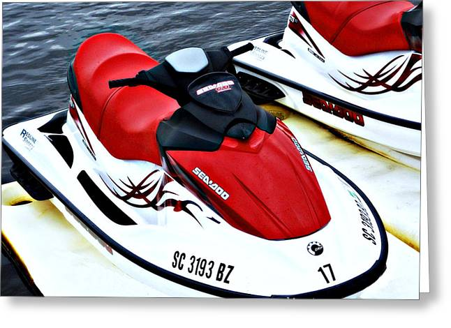 Fine Art Skiing Prints Greeting Cards - Red Jet Ski Greeting Card by Sheila Kay McIntyre