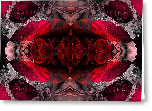 Algorithmic Abstract Greeting Cards - Red lace Greeting Card by Claude McCoy