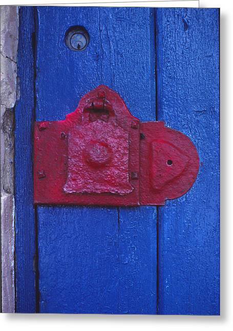 Red Latch Greeting Card by Bob Whitt