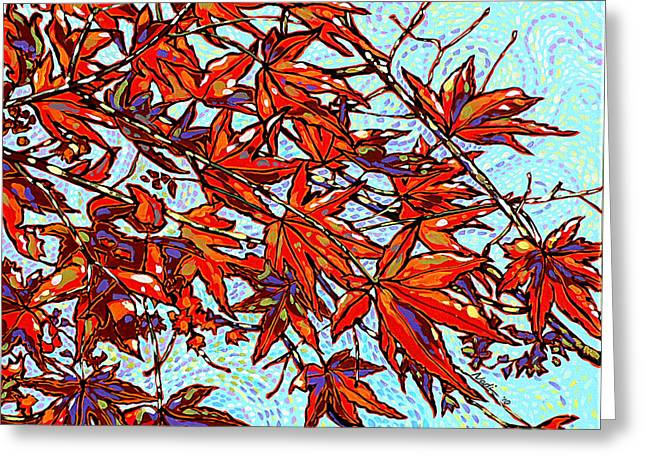 Nadi Spencer Paintings Greeting Cards - Red Leaves Greeting Card by Nadi Spencer