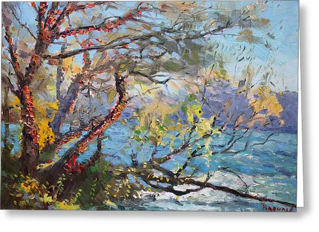 Autumn Landscape Paintings Greeting Cards - Red Leaves Greeting Card by Ylli Haruni