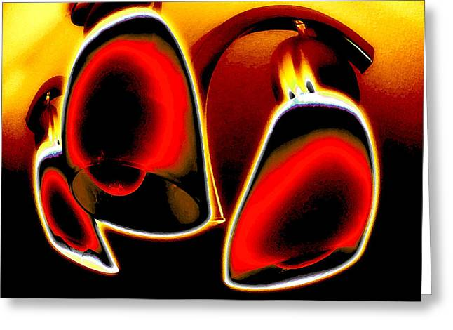 Trio Digital Greeting Cards - Red Light District Greeting Card by Molly McPherson