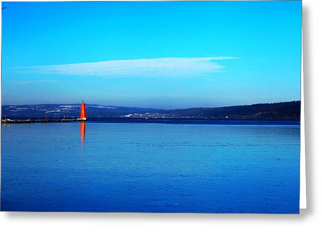 Ithaca Greeting Cards - Red lighthouse in Cayuga Lake New York Greeting Card by Paul Ge