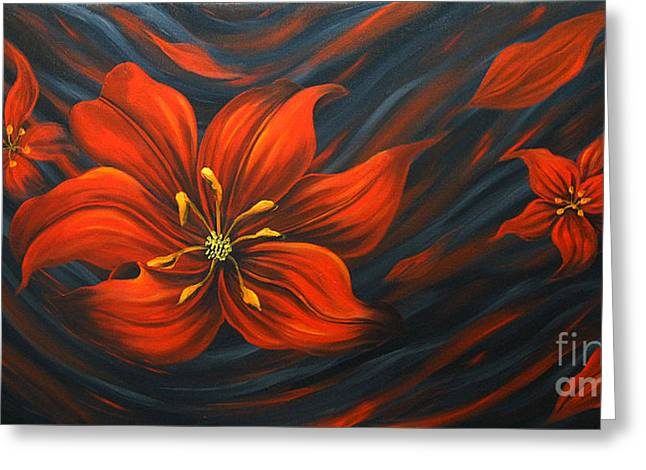 Floral Photographs Paintings Greeting Cards - Red Lily Greeting Card by Uma Devi