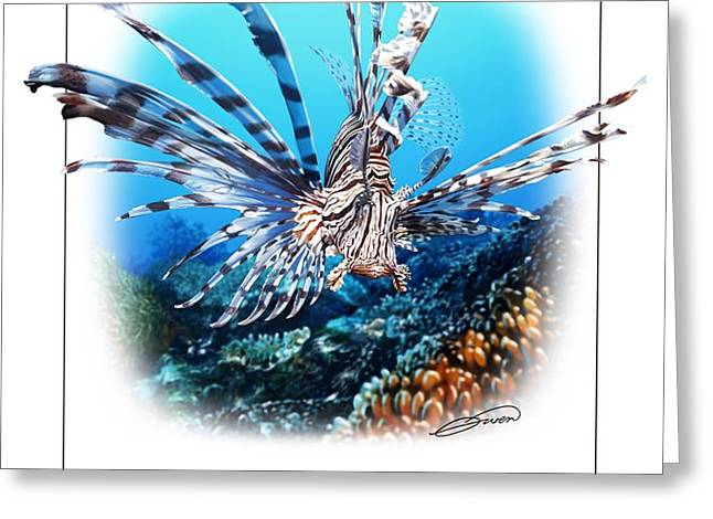 RED LIONFISH Greeting Card by Owen Bell