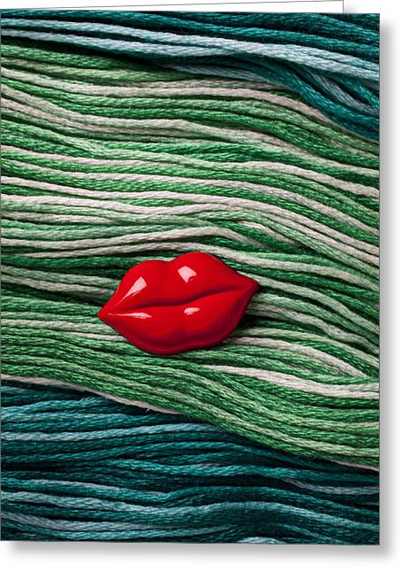 Red Lips Greeting Cards - Red lips button on thread Greeting Card by Garry Gay