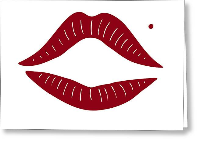 Girlie Greeting Cards - Red Lips Greeting Card by Frank Tschakert