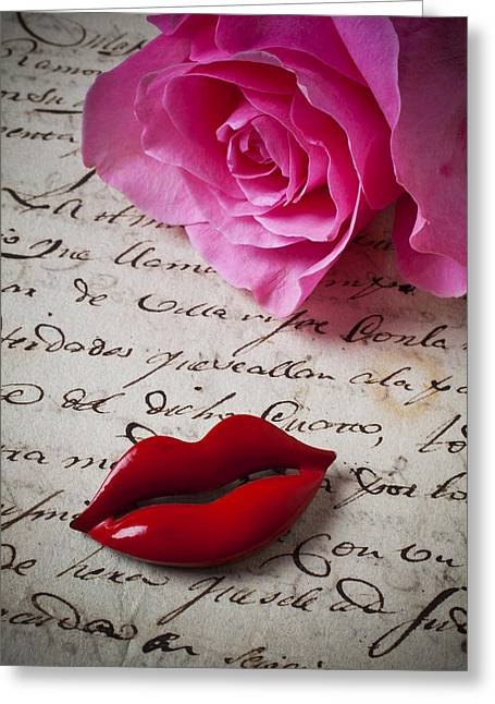Handwritten Greeting Cards - Red lips On Letter Greeting Card by Garry Gay