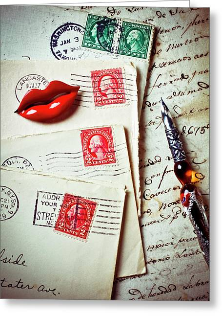Envelope Greeting Cards - Red lips pin and old letters Greeting Card by Garry Gay