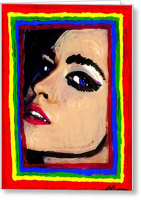 Clever Mixed Media Greeting Cards - Red Lipstick Greeting Card by Mona Morgan