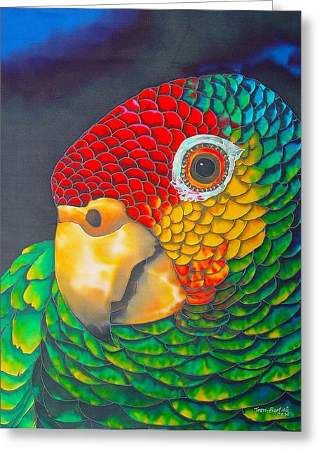 Paradise Tapestries - Textiles Greeting Cards - Red Lorred Parrot Greeting Card by Daniel Jean-Baptiste
