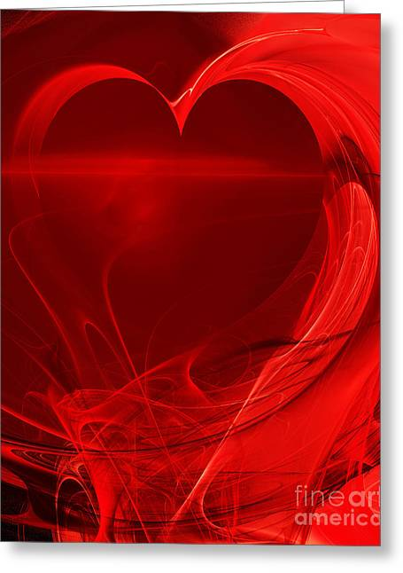 Best Sellers -  - Geometric Digital Art Greeting Cards - Red Love . A120423.279 Greeting Card by Wingsdomain Art and Photography