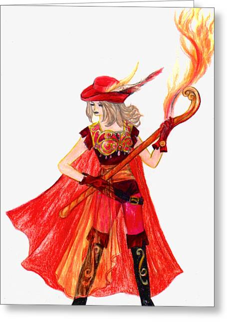 Final Fantasy Greeting Cards - Red Mage Greeting Card by Rebecca Tripp