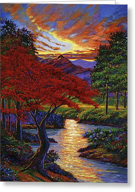 Maple Tree Sunset Greeting Cards - Red Maple Greeting Card by David Lloyd Glover