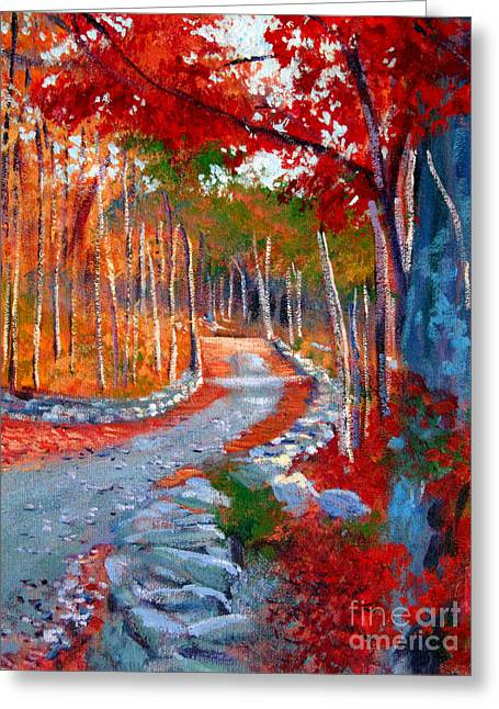 New England Autumn Greeting Cards - Red Maple Road Plein Aire Greeting Card by David Lloyd Glover