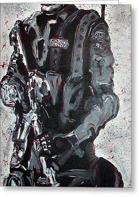 Character Portraits Greeting Cards - RED Marble Full Length Figure Portrait of SWAT team leader Alpha Chicago Police Full uniform War Gun Greeting Card by M Zimmerman MendyZ