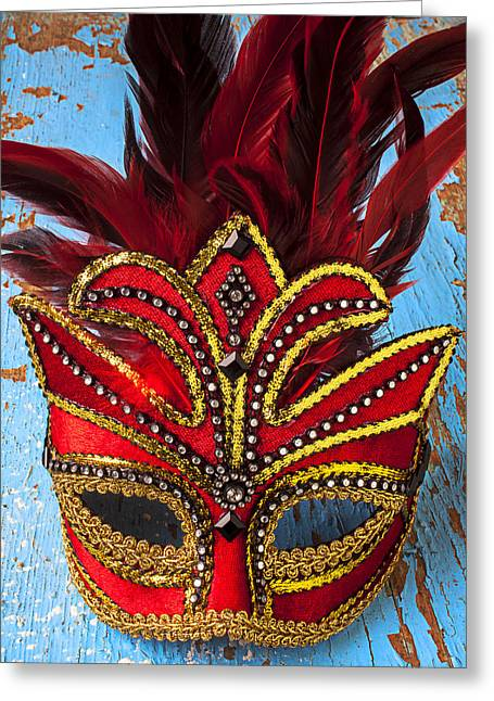 Theater Masks Greeting Cards - Red Mask Greeting Card by Garry Gay