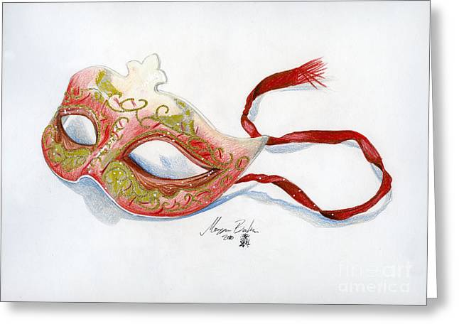 Jester Greeting Cards - Red Mask Greeting Card by Morgan Banks