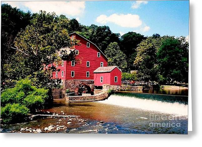 Mill In Woods Photographs Greeting Cards - Red Mill Clinton NJ Greeting Card by Annie Zeno