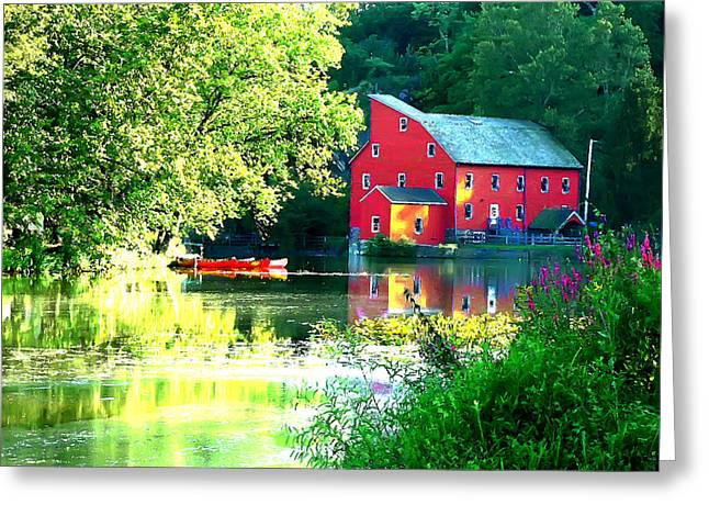 Old Mill Scenes Digital Greeting Cards - Red Mill on the Lake Greeting Card by Jeff Stein