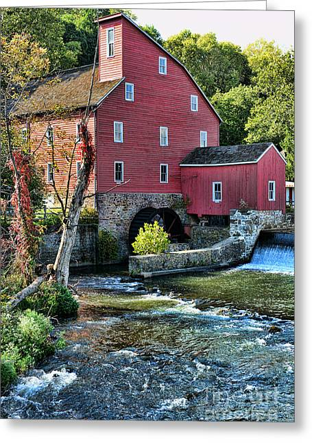 Red Mill Historic Village Greeting Cards - Red Mill on the water Greeting Card by Paul Ward
