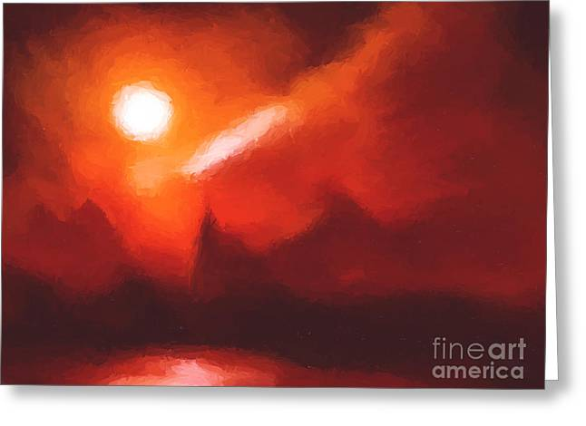 Red mountains Greeting Card by Pixel Chimp