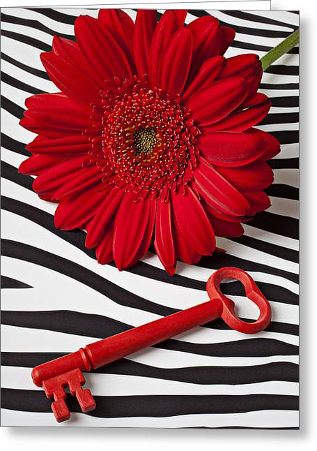 Life Line Greeting Cards - Red Mum and Red Key Greeting Card by Garry Gay