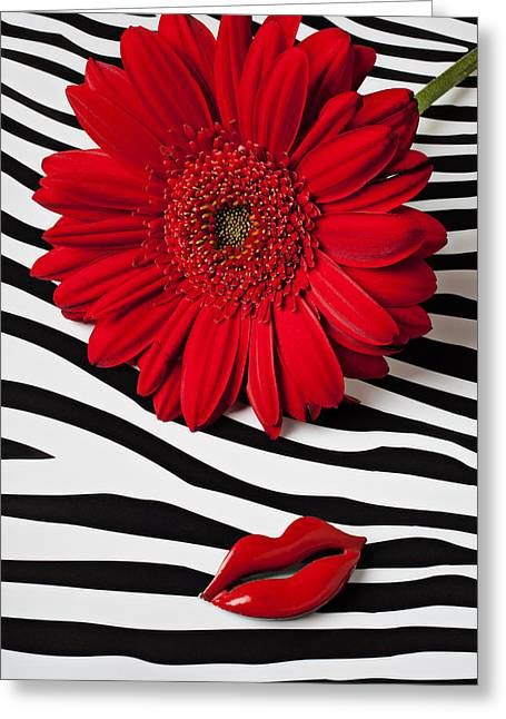 Lips Photographs Greeting Cards - Red Mum And Red Lips Greeting Card by Garry Gay