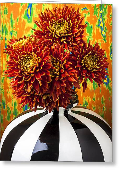 Red Bouquet Greeting Cards - Red mums in striped vase Greeting Card by Garry Gay