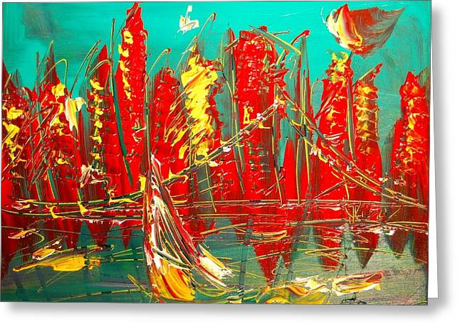 Sunset Greeting Cards Greeting Cards - Red Nyc Greeting Card by Mark Kazav