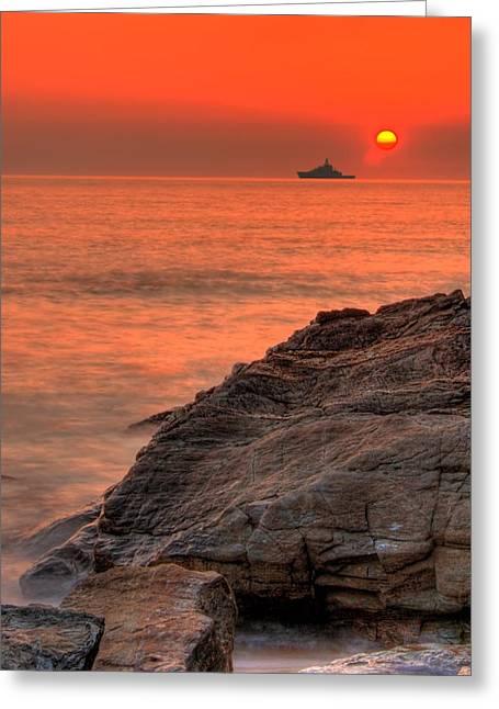 Seaside Digital Art Greeting Cards - Red Ocean Greeting Card by Jaroslaw Grudzinski