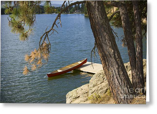 Canoe Greeting Cards - Red on Blue Greeting Card by Idaho Scenic Images Linda Lantzy