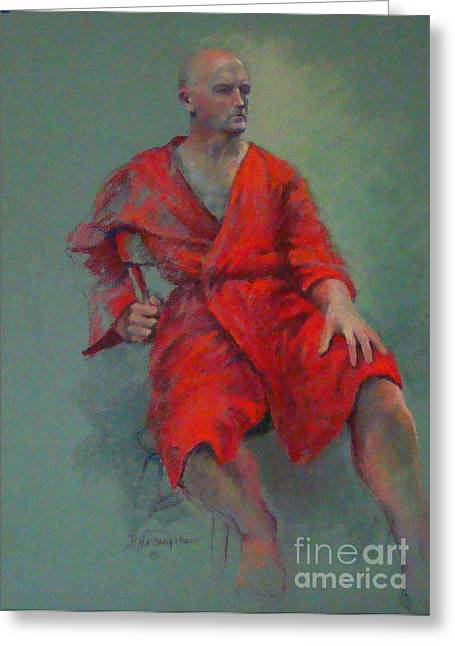 Robe Pastels Greeting Cards - Red On Red Greeting Card by Delores Herringshaw