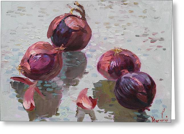 Vegetables Paintings Greeting Cards - Red Onions Greeting Card by Ylli Haruni